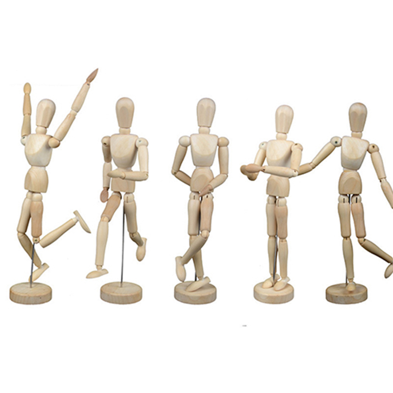 1 Piece 16 Moveable Joints Wooden Man Figure Toys Dolls With Standing Flexible Wood Man Art Draw Naked Dolls Model Toy For Kid