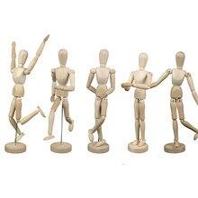 Boneco de madeira para crianças, 1 peça, 16 articulações móveis, bonecos nuos, flexíveis, de madeira brinquedo para criança