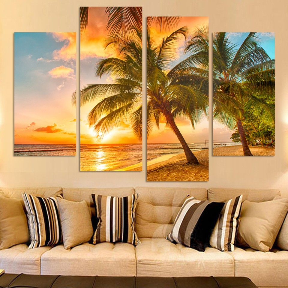 4 Piece Sunset Seascape Canvas Painting Coconut Tree Beach Modern ...