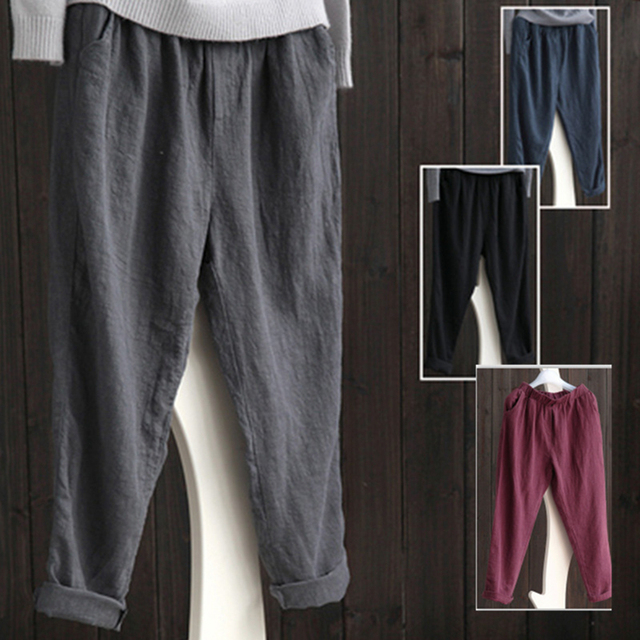 b17494e502 Oversized Trousers Women Elastic Waist Pockets Long Harem Pants Streetwear  Casual Retro Cotton Pant Turnip Tumblr Pantalon Mujer