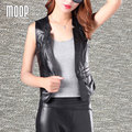 Black genuine leather vest 100% lambskin spliced leather jacket women waistcoat chalecos mujer colete LT368 Free shipping