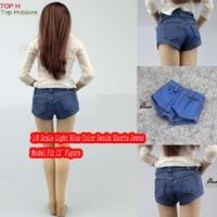 1 6 Scale Light Blue Color Denim Shorts Jeans Pants Model For 12 Female Figures Not