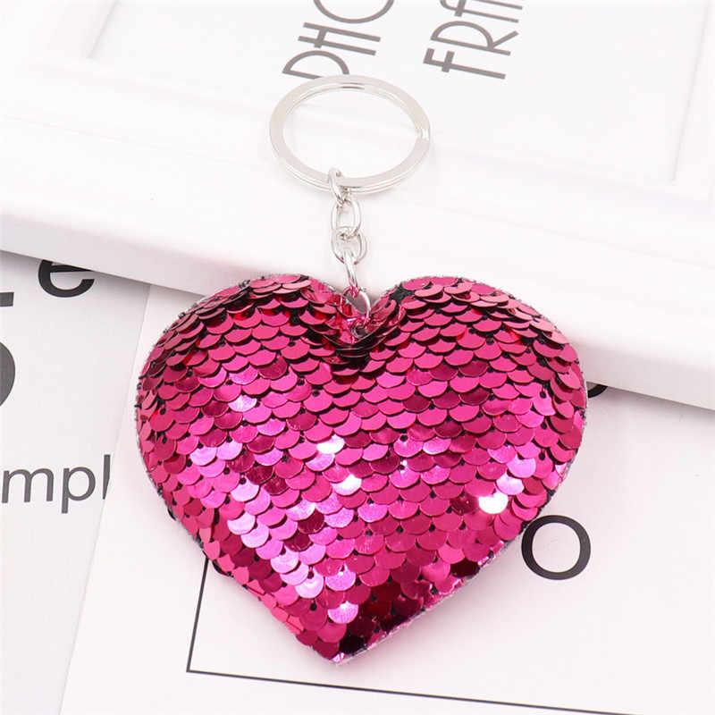 Sitaicery Pompom Glitter Lantejoulas Presentes Da Corrente Chave Chaveiro Chaveiro Coração para As Mulheres Llaveros Mujer Saco Chave Acessórios Do Carro Anel