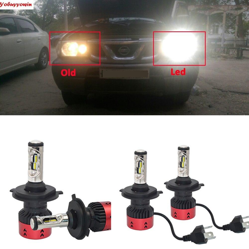 2xV6 Mini H4 P43T LED Bulb 70W 9000Lm Car Headlight LED H4 High Low Beam LED Fog Light Kit White For Automobiles Canbus Function