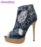Hot Selling Classic Denim Boots Open Toe Lace Flowers Patchwork Short Booties Motorcycle Ankle Boots Embroidered Platform Pumps
