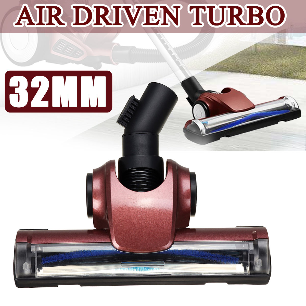 32mm Universal Vacuum Cleaner Brush Floor Cleaner Head Air Driven Vacuum Turbo Carpet Brush For Dyson DC52 DC58 DC59 V6 DC62 hi q 21 6v 2200mah li ion rechargeable battery replacement for dyson battery dc61 dc62 dc72 dc58 dc59 965874 02 vacuum cleaner