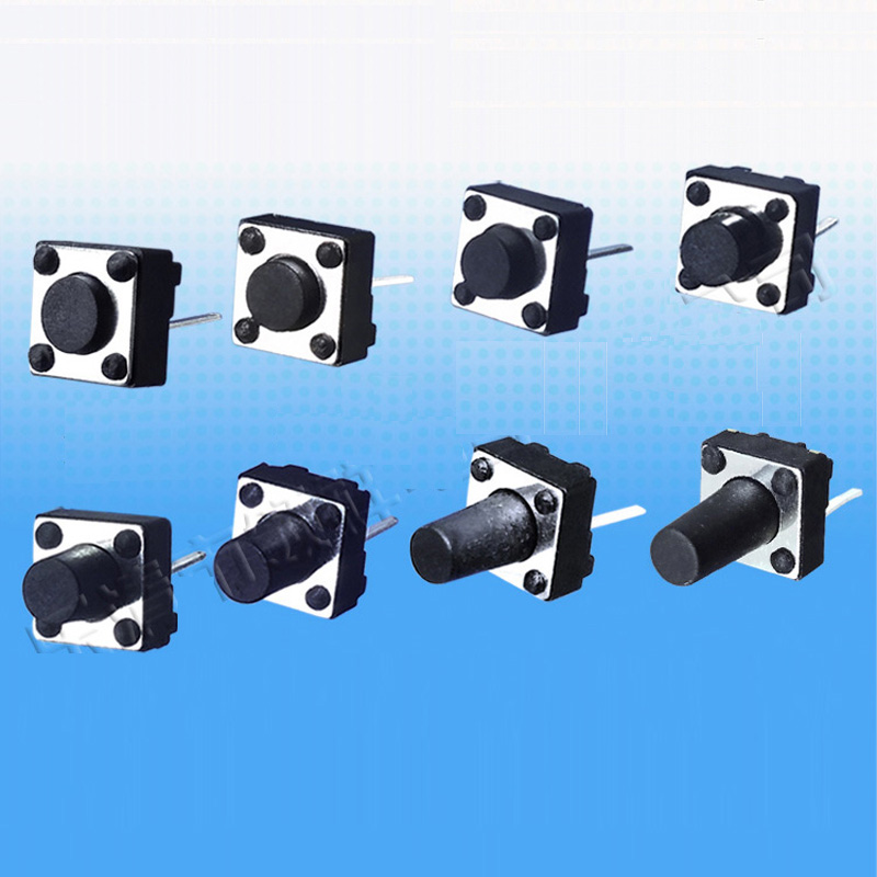 200pcs/lot 6*6*4.3/4.5/5/5.5/6/6.5/7/7.5/8/8.5/9/9.3/9.5/10/12mm Middle 2 pin Tact Switch Push Button Switch 6x6mm Black 5pcs lot high quality 2 pin snap in on off position snap boat button switch 12v 110v 250v t1405 p0 5