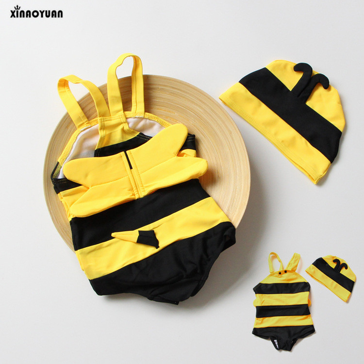 Bikini 2018 Girls Swimwear Biquinis Bee Modeling Childrens Bathing Suit Baby Girl Kids Swimsuit With Cap Cover up