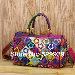 ФОТО New style 2016 baiyun leather handbag market fashion floral designs vintage natural 100% genuine leather hot designer women bags