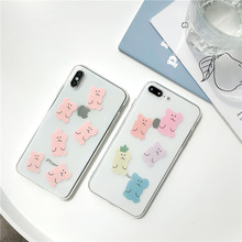 Candy bear women case for iPhone 6s 7 8 Plus cute animal soft cover X XS MAX XR 6 clear silicone cartoon fundas