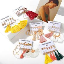 6 Pair Fashion Vintage Bohemian Earring Long Tassel Drop Earrings For Women Girl Geometric Zircon Earring Female Jewelry Gifts цена в Москве и Питере
