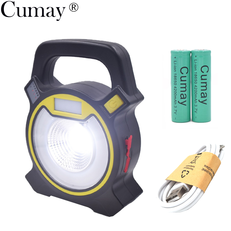 15W COB LED Portable Floodlight Lantern 18650 Outdoor Waterproof 4 Mode Emergency Spotlight Lamp For Camping