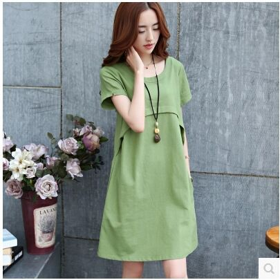 a53bad57093f3 2016 new cotton dress Korean pregnant women loose waist dresses pregnant  women short-sleeve fashion