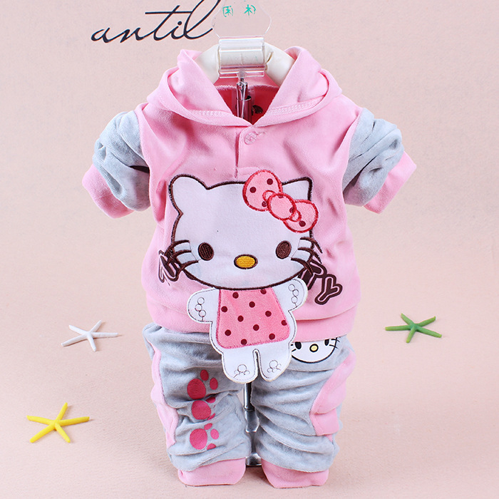 89e82cf13 New 2014 Fall newborn Baby Set Cartoon hello kitty for baby girl clothes  Twinset Velour girl Baby Clothing Sets Free shipping-in Clothing Sets from  Mother ...