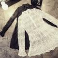 Mulheres white lace dress 2017 mori meninas primavera outono moda sweet manga comprida fique collar transparência branco black lace dress