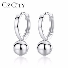CZCITY Round 925 Silver Ball Hoop Earrings Real 925 Sterling Silver Vintage Ball Earrings for Women Trendy Jewelry Gift czcity brand elegant petal delicate women 925 sterling silver stud earrings for women genuine silver jewelry gift