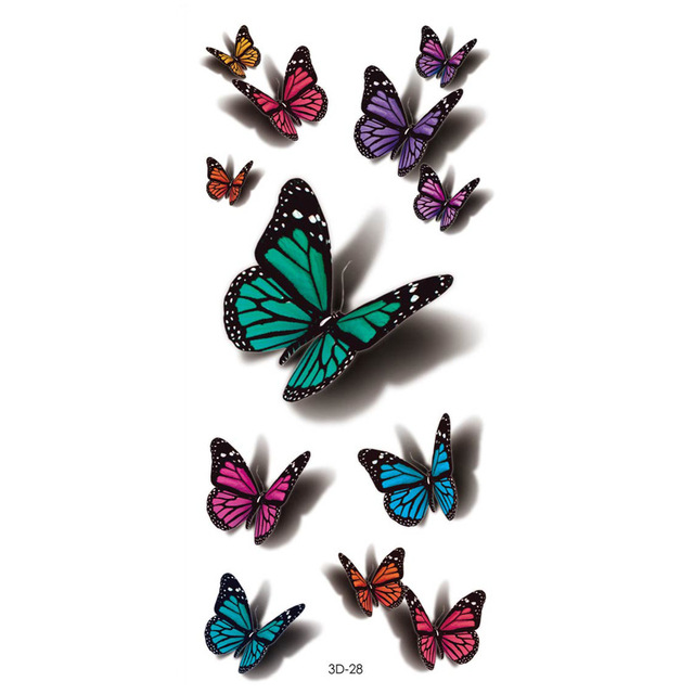 New 3D digital printing tattoo stickers cartoon butterfly flower tattoo stickers custom 60 waterproof tattoo stickers