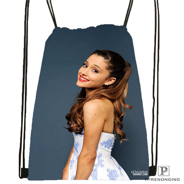 Custom Ariana Grande (4)  Drawstring Backpack Bag Cute Daypack Kids Satchel (Black Back) 31x40cm#180612-03-Ariana Grande