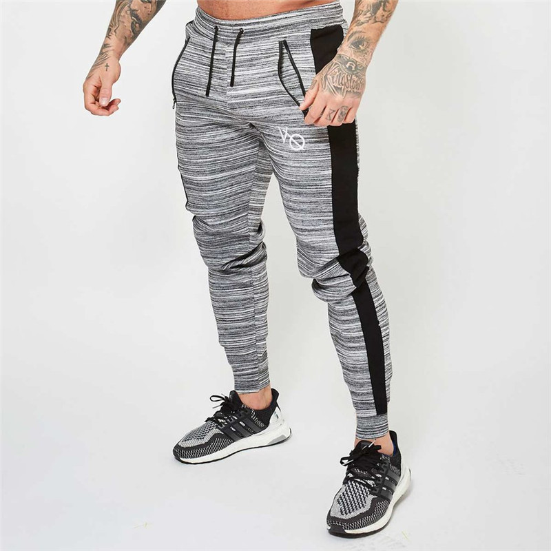 Men's 2018 paragraph color men's casual trousers sportswear men's slim feet pants gyms trend pants jogger fashion men's trousers