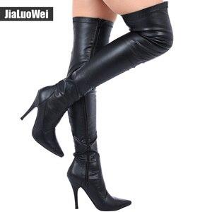Image 5 - Jialuowei en satış bayanlar seksi sivri burun uyluk yüksek çizmeler, kadınlar yüksek topuklu kaskad Platform çizmeler uyluk yüksek kış çizmeler