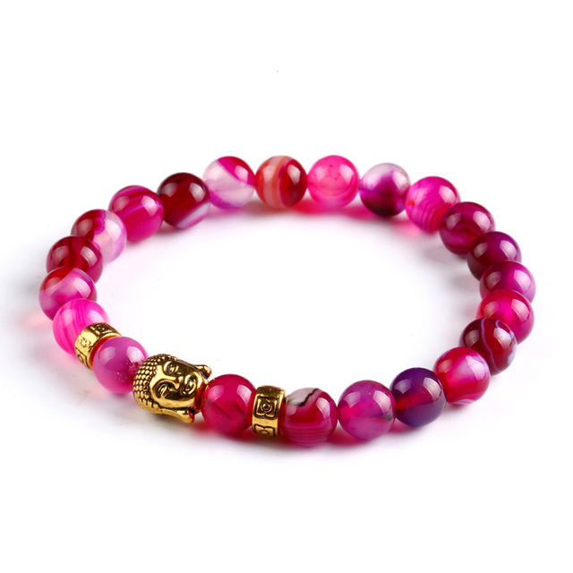 Tiger Eye Bracelet Gold Buddha Natural Stone Beads Elastic Rope Chain Men Charm Bracelets Bangles For Women Male jewellery gift 4