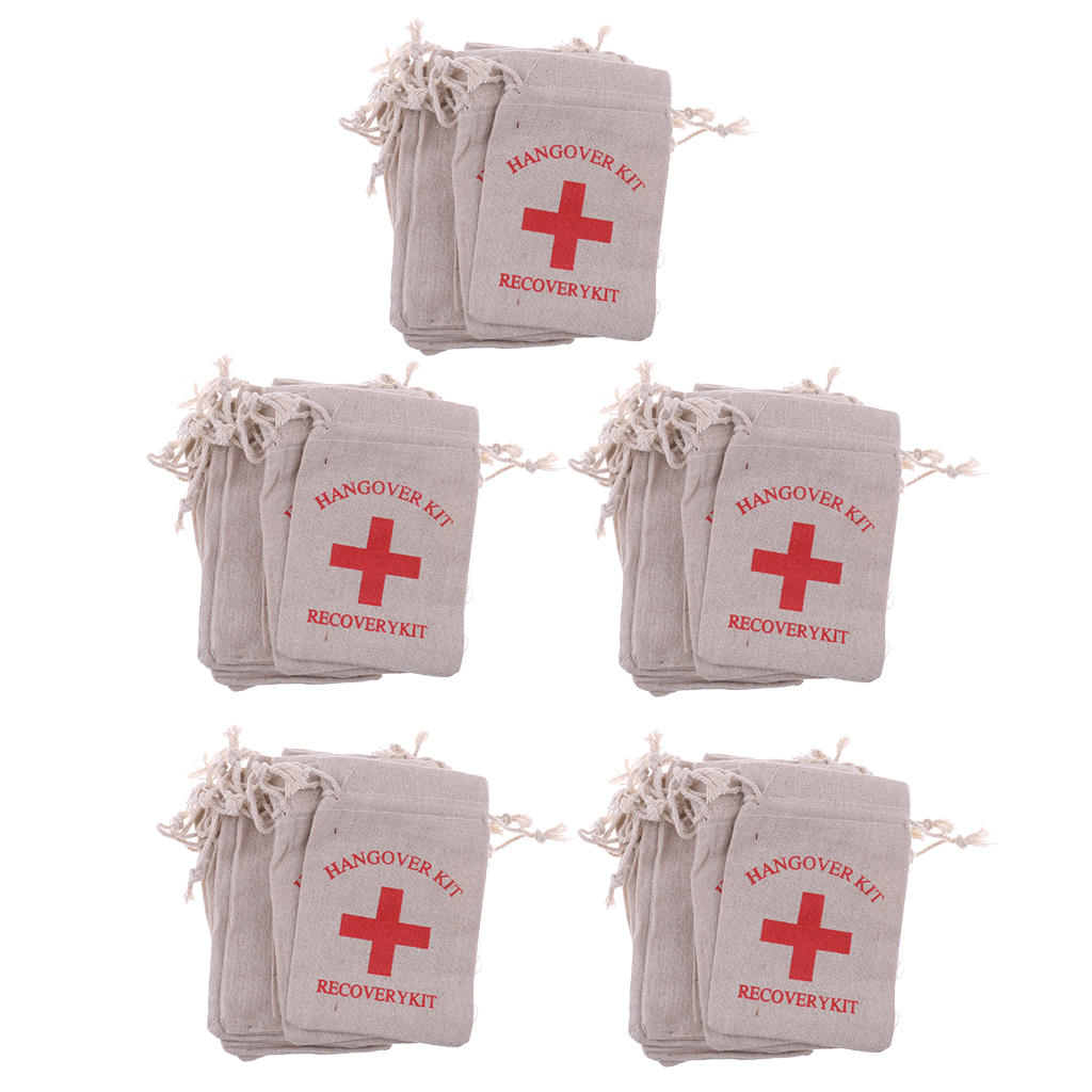 Image 3 - Pieces of 50 Recovery Hangover Kit Bags Hens Party First Aid Bag Muslin Favor Bag 13x9 cm-in Gift Bags & Wrapping Supplies from Home & Garden