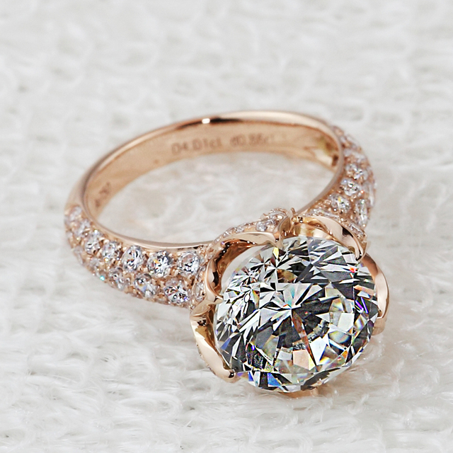Pt950 Stamp Luxury 4 Carat Lab Diamond Ring Rose Gold