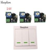 Sleeplion DC 24 V 1CH ממסר אלחוטי RF מערכת מקלט משדר 3 אור מנורת מתג שליטה מרחוק קיר דלת שליטה מערכת