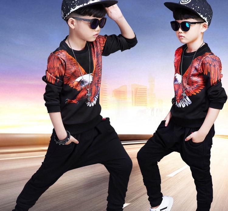 New Childrens clothing sets kids Boys suit 3D Eagle Print Sweatshirts+ Haren pants clothes cotton trousers Autumn Tracksuit