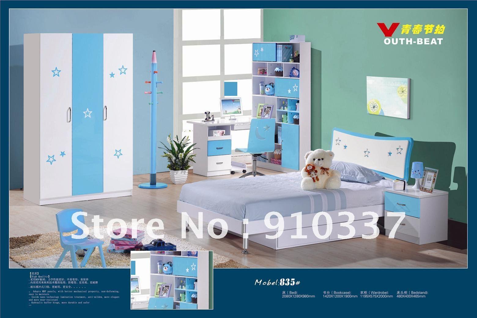 4 Pcs New Full Size Bedroom Set Mdf Panels Children Furniture