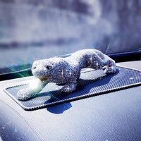 Luxury Crystal Leopard Car Interior Ornament Bling Bling Fashion Animal Decoration Great Home Office Ornaments Gift