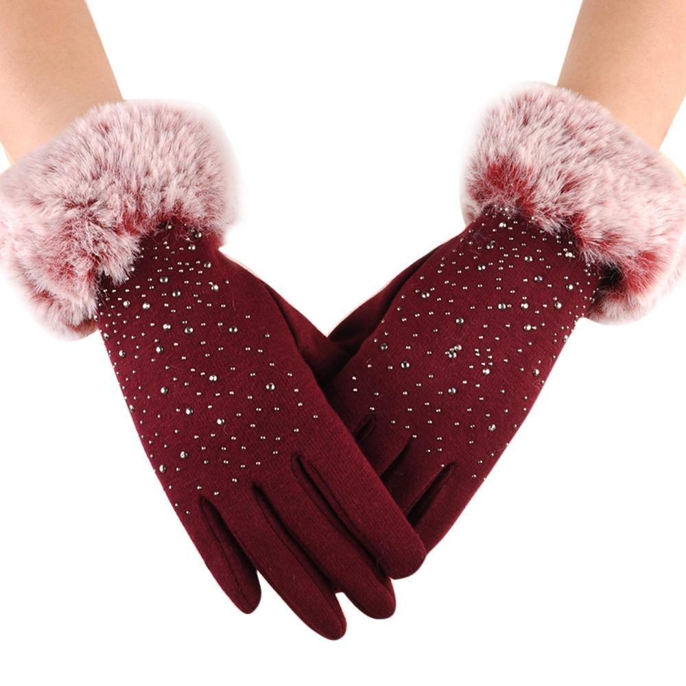 Women faux fur gloves winter full finger warm mittens outdoor sport black faux fur elegant gloves anti slip hand wrist glove#yl
