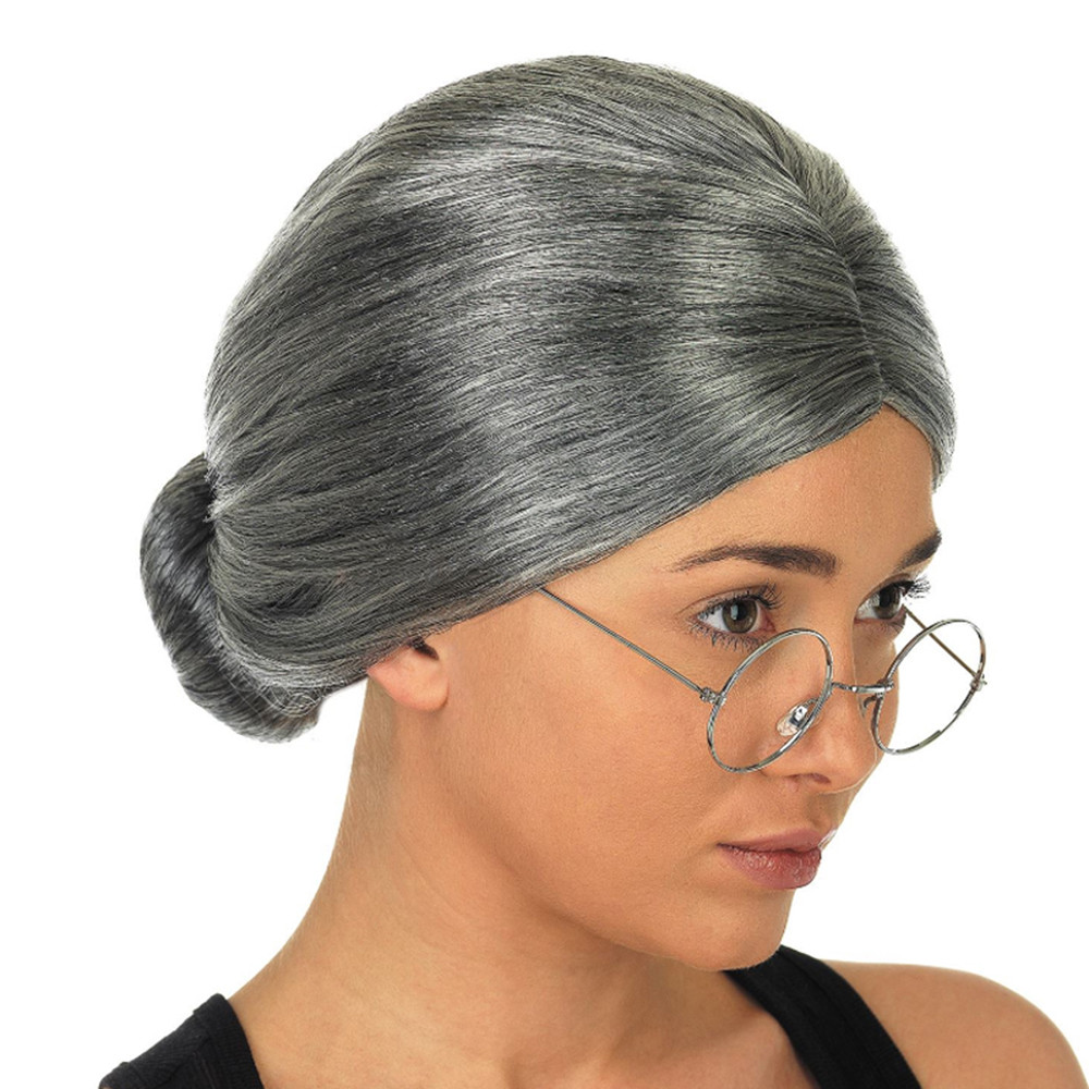 Old Lady Grandma wigs for women Granny Grey Wig Bun Hair Grand Mother Fancy Dress Costum ...