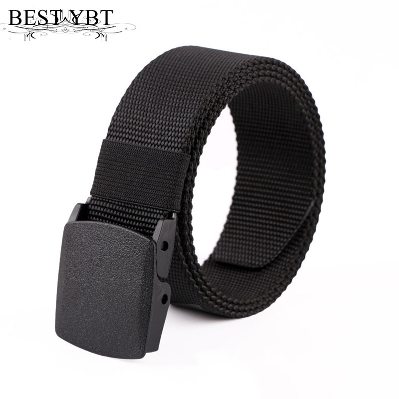 Best YBT Men Belt Snap  Outdoors Casual  Military Training Anti Allergy Plastic Buckle Without Metal Belt  Polyester Fiber  Belt
