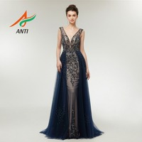ANTI Evening Dress 2019 Sexy V Neck Backless Gowns luxurious Beading Crystals Pearls robe de soiree for Women Dubai Arabic LM129
