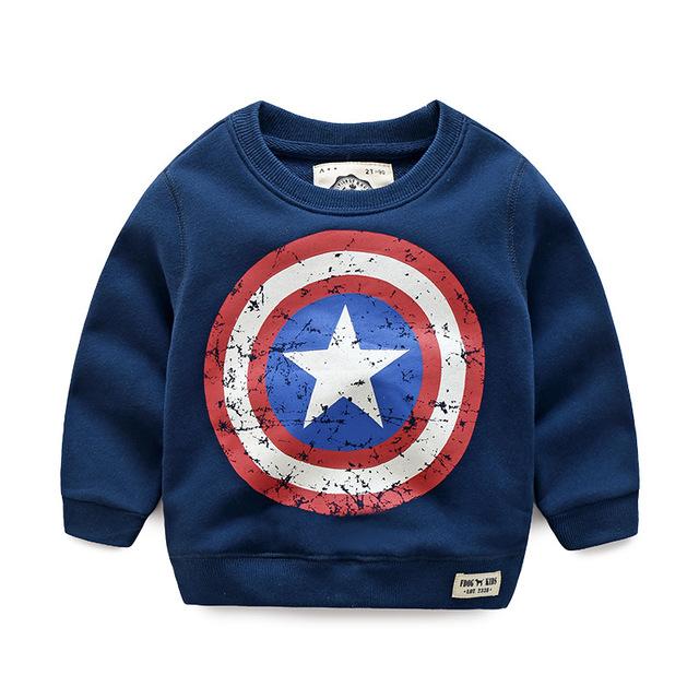 2-7 años bebé clothing moda estilo capitán américa sudaderas, hoodies 100% algodón de alta calidad de lana de invierno suéter