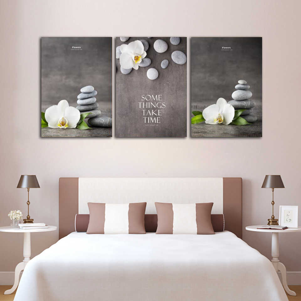 ALMUDENA Chinese Style Flower Painting Zen Phalaenopsis Ornamental Canvas Poster for Living Room Home Decor Unframed Wall Art