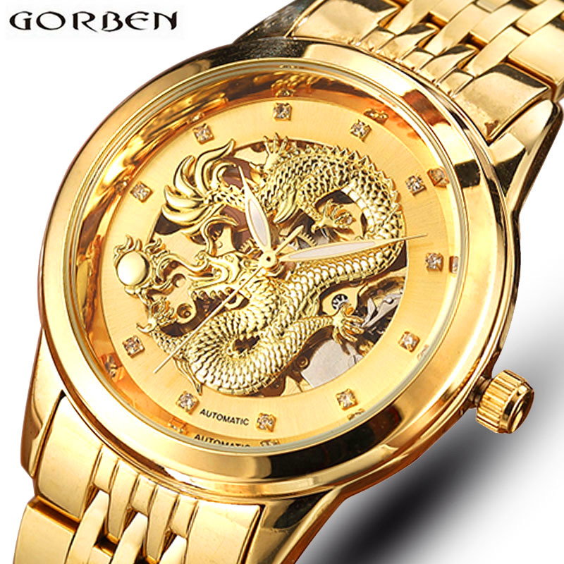 Carved Dragon Skeleton Automatic Mechanical Watches Mens Gold Stainless Steel Chinese Wrist Watch Male Luxury Top Brand Luminous mce automatic watches luxury brand mens stainless steel self wind skeleton mechanical watch fashion casual wrist watches for men