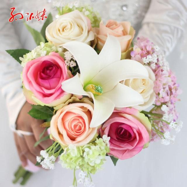 Japan and korean style wedding bouquet artificial silk rose japan and korean style wedding bouquet artificial silk rose hydrangea lily mix wedding decoration bridal bouquet junglespirit Gallery