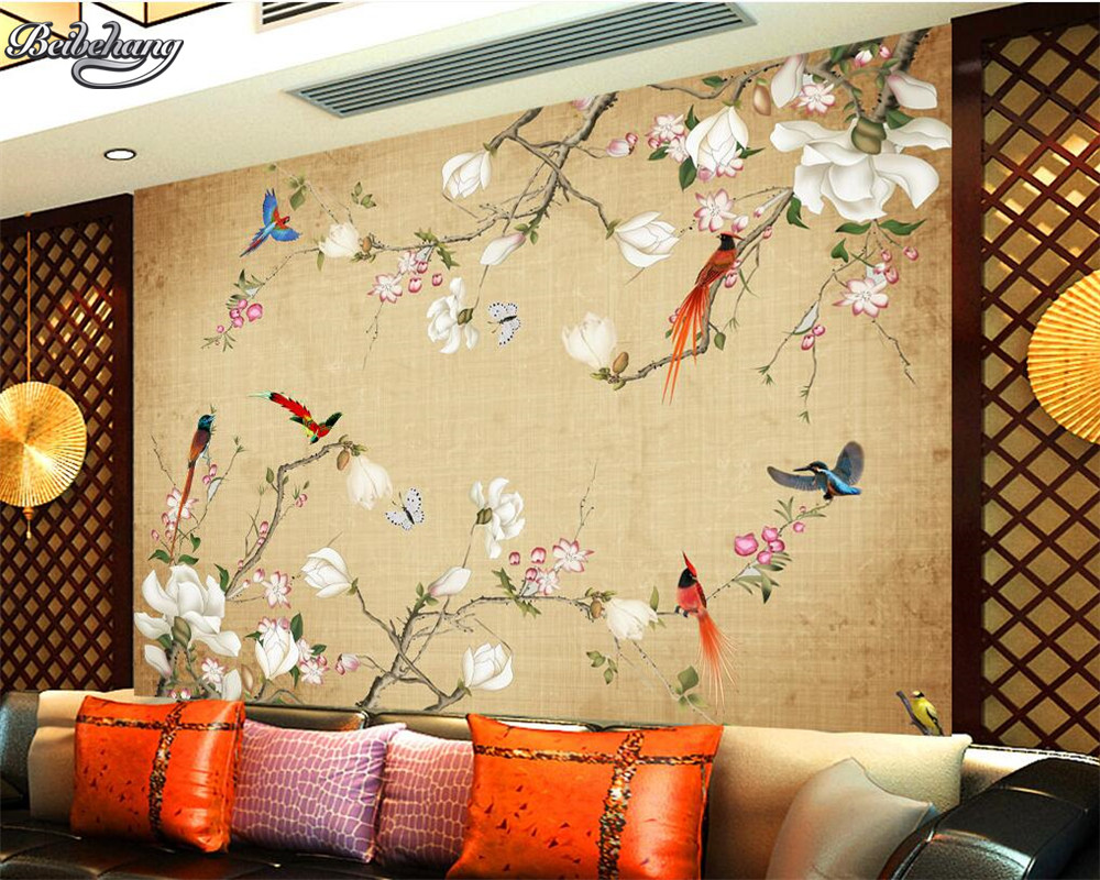 Chinese retro flowers and birds mural wallpaper Luxury golden ...