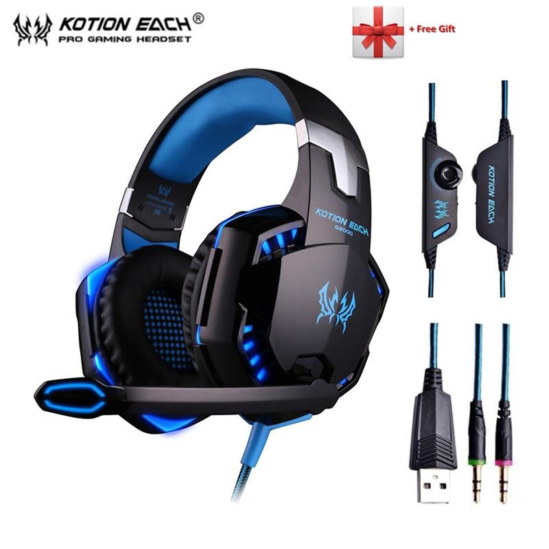 KOTION cada G2000 G9000 auriculares de juego jugador auricular estéreo Deep Bass auriculares con micrófono con la luz del LED para PC PS4 x-BOX