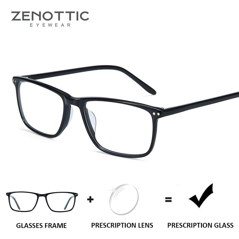 ZENOTTIC Black Square Prescription Glasses for Men Anti-Blue-Ray Lens Clear Eyewear Optical Myopia Eyeglasses Photochromic 2019