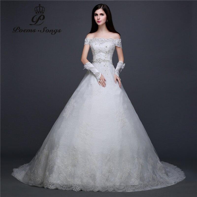 Poemssongs Real photo  lace flowers off the shoulder boat neck Wedding Dresses vestidos de noiva robe de mariage