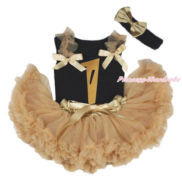 Золотой день рождения 1-й черный верх рубашка темно золотарник хаки новорожденных девочек юбки экипировка 3 - 12 м MAPSA0837