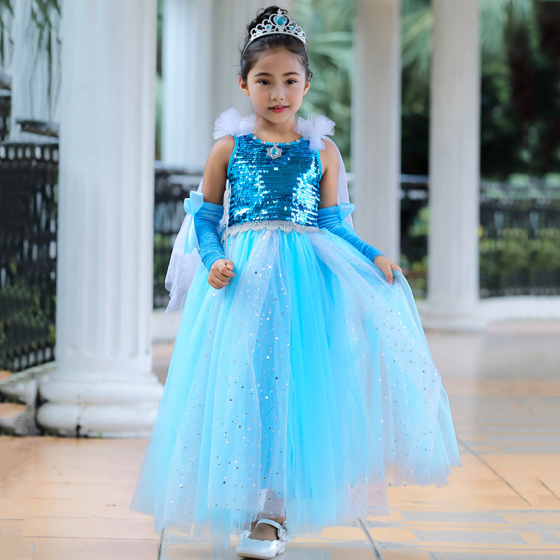 Summer Girl Elsa Princess Long Dress Children Halloween performance Costumes Blue sequined Kid Party Tutu Dresses 2019 New