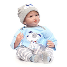 New Arrival 55cm 22 Inches Lifelike Silicone Baby Dolls For Little Boy The Best Gift For Baby Birthday Brinquedos Newborn Babies