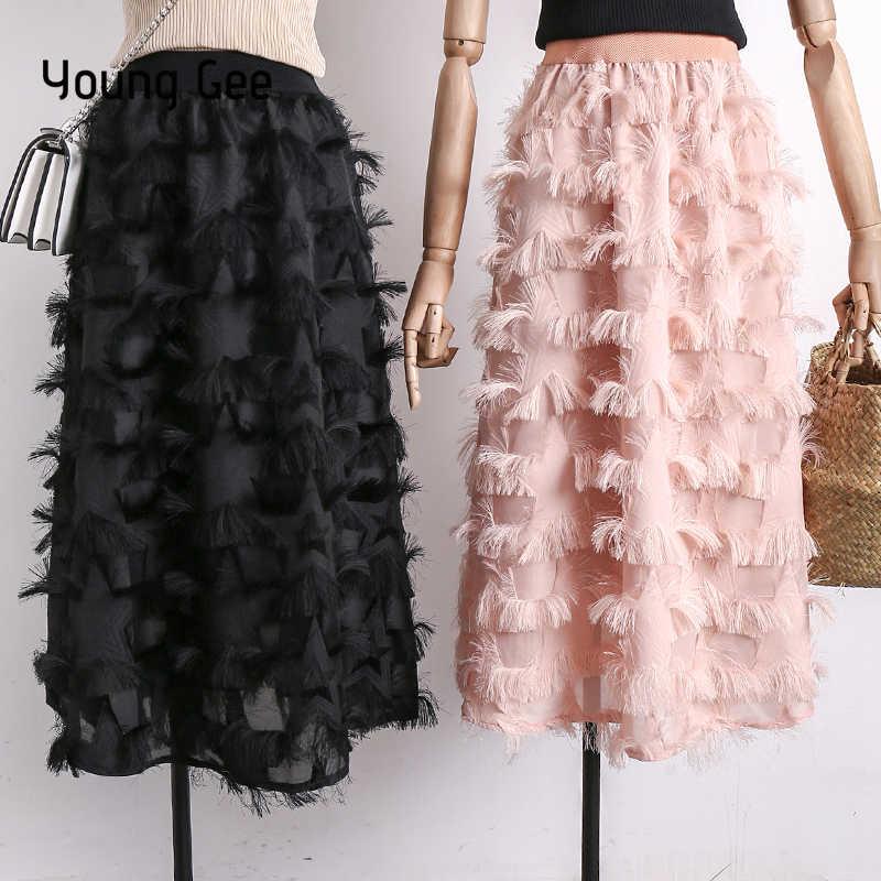 782ec91d3d5 YoungGee Women 2019 Fashion Summer Eyelash Tassel Tulle Skirts High Waist  A-line Mid-