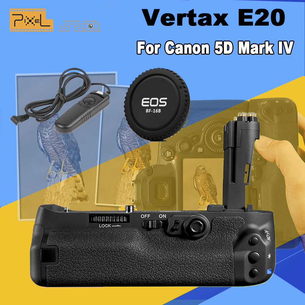 New Pixel Vertax E20 Professinal Battery Grip For Canon 5D Mark IV / 5D4 / 5D MarkIV & Camera Cap & RC-201 Wired Shutter Release rs 80n3 wired remote shutter release for canon 5d mark iii 5d mark ii more black 85cm cable