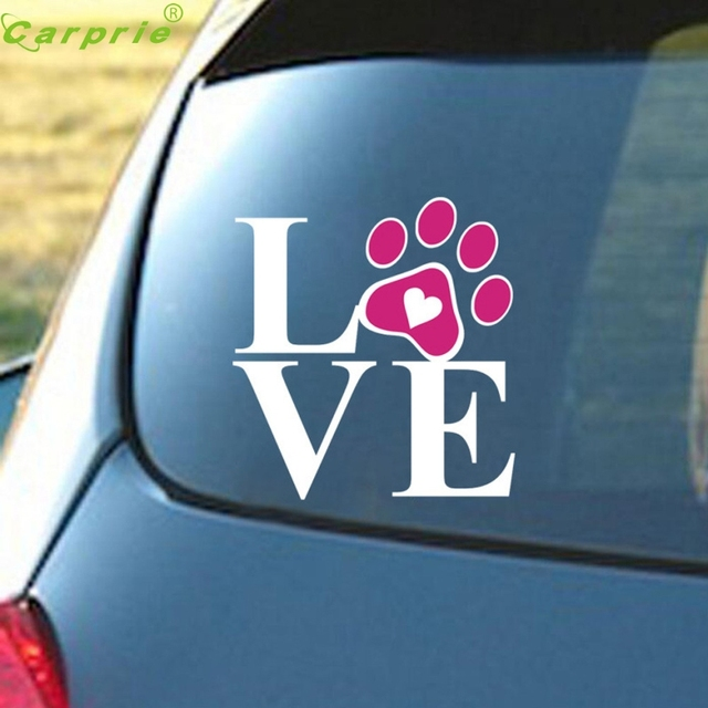 Window Stickers For Cars >> Drop Shiping 2017 12 12cm Heart With Dog Paw Puppy Love Decal Window Sticker For Cars Walls Pvc Decorative Stickers Car In Car Stickers From
