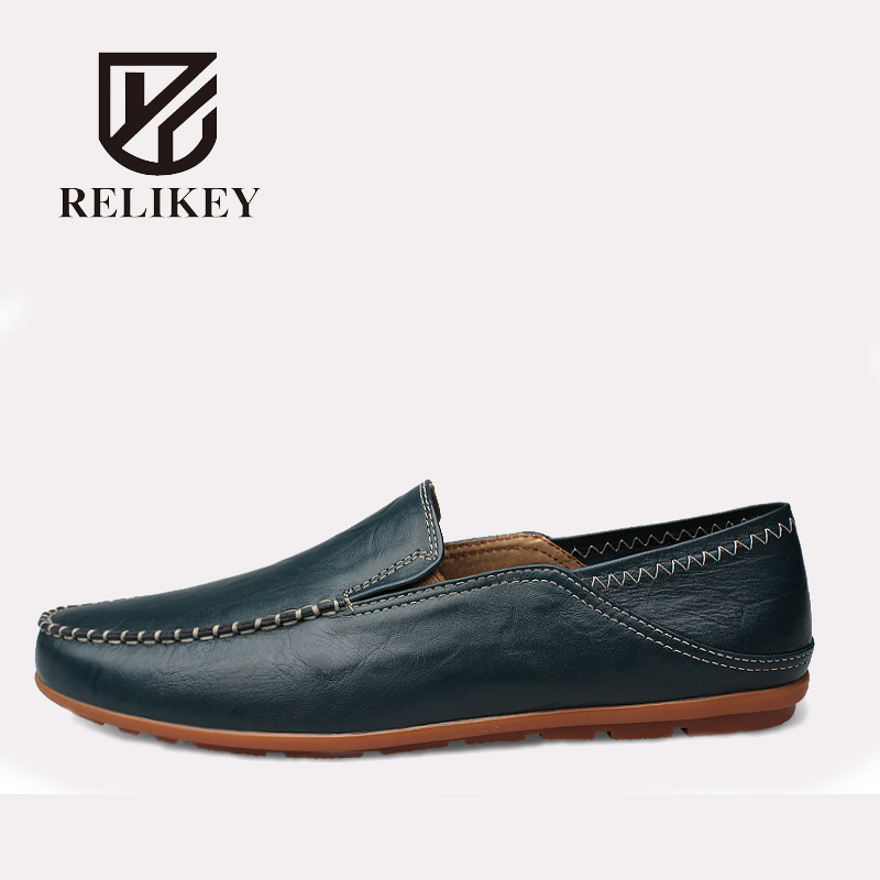 RELIKEY Brand Men Loafers Handmade Slip-On Genuine Leather Classics Male Flats Big Size Causal Breathable Shoes for Men relikey brand men casual handmade shoes cow suede male oxfords spring high quality genuine leather flats classics dress shoes